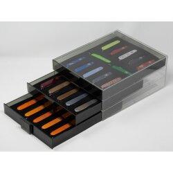 Lindner Sammelbox Rauchglas Black Samt für 12 Victorinox Messer 91 mm