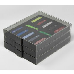 Lindner Sammelbox Rauchglas Black Samt für 12 Victorinox Messer Alox 84 mm (Cadet)