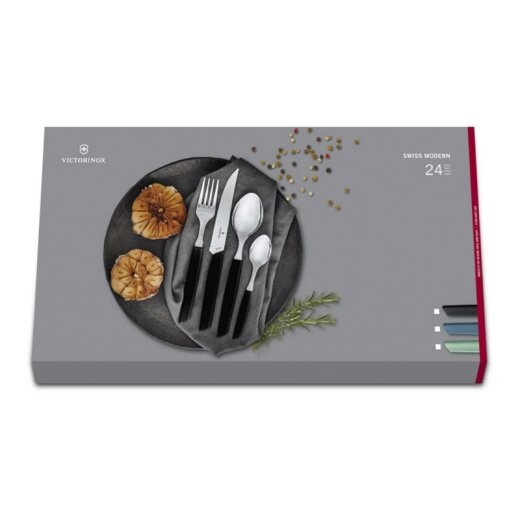 Swiss Modern Besteck-Set mit Messer und Farbe nach Wahl, 24-teilig